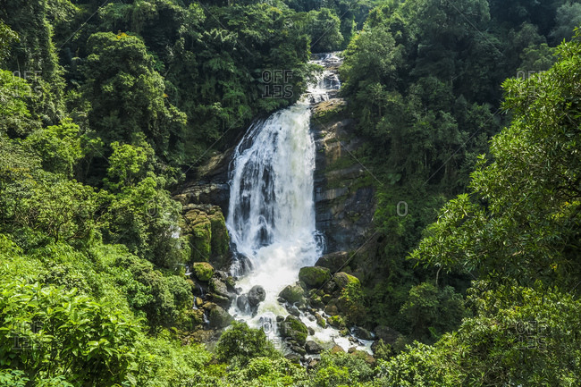 The 70m Valara Waterfall on the Deviyar River after Monsoon, a popular sight on the road to Munnar, Idukki district, Kerala, India, Asia