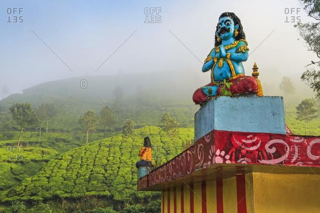 October 20, 2017: Lakshmi tea estate temple devoted to Aravan of the Tamil Kuttantavar Cult, many tea workers are Tamil, Munnar, Kerala, India, Asia