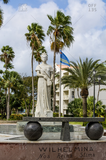 March 15, 2018: Queen Wilhelmina statue monument, Oranjestad, Aruba, ABC Islands, Dutch Antilles, Caribbean, Central America