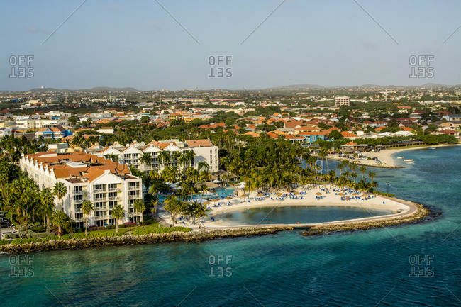 March 15, 2018: Aerial view of resort Oranjestad, Aruba, ABC Islands, Dutch Antilles, Caribbean, Central America