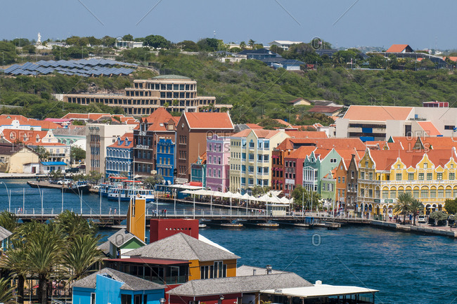 March 14, 2018: Aerial view of capital city Willemstad, UNESCO World Heritage Site, Curacao, ABC Islands, Dutch Antilles, Caribbean, Central America