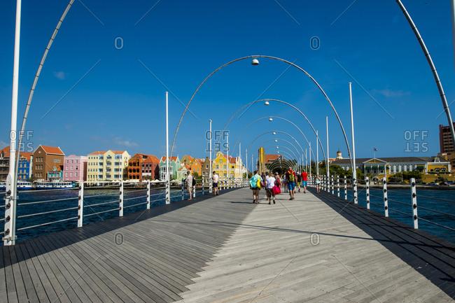 March 14, 2018: Queen Wilhelmina Bridge, Willemstad, Curacao, ABC Islands, Dutch Antilles, Caribbean, Central America