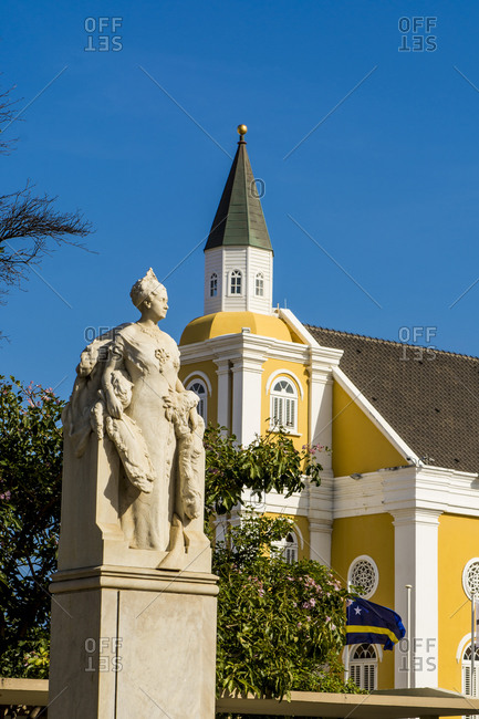 March 14, 2018: Queen Wilhelmina statue monument, Willemstad, Curacao, ABC Islands, Dutch Antilles, Caribbean, Central America