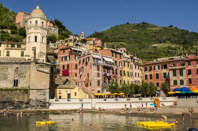 June 24, 2016: Santa Margheritte de Antiochia church and harbor, Vernazza, Cinque Terre, UNESCO World Heritage Site, Liguria, Italy, Europe