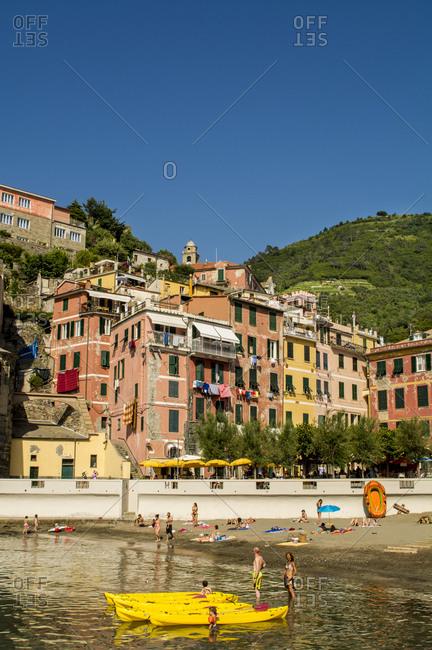 June 24, 2016: Vernazza, Cinque Terre, UNESCO World Heritage Site, Liguria, Italy, Europe