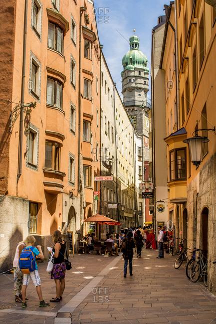 July 4, 2016: Clock Tower, Old Town, Innsbruck, Tyrol, Austria, Europe