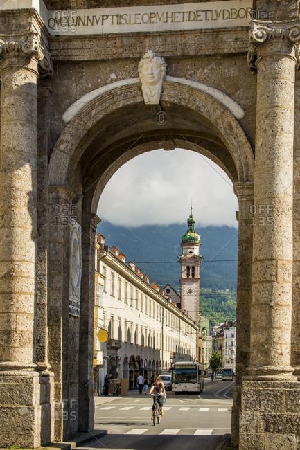 July 4, 2016: The Servite Church seen through the Triumphal Arch, Old Town, Innsbruck, Tryol, Austria, Europe