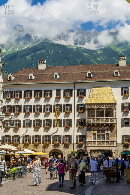 July 4, 2016: Golden Roof (Goldenes Dachl) balcony, Old Town, Innsbruck, Tyrol, Austria, Europe