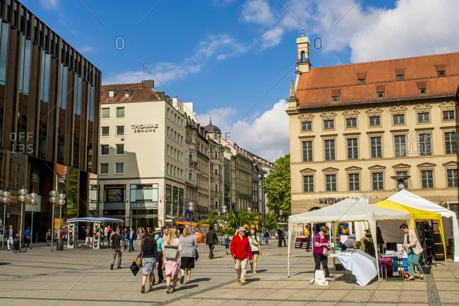 July 6, 2016: Part of Central Square, Marienplatz, Munich, Bavaria, Germany, Europe