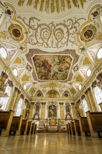 July 6, 2016: Interior of the Burgersaal (Burgersaalkirche) Citizen's Hall, Munich, Bavaria, Germany, Europe