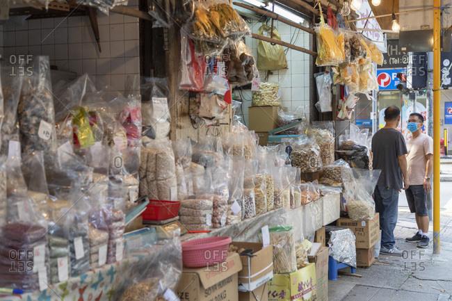 May 27, 2020: Dried seafood shops, Sai Ying Pun, Hong Kong Island, Hong Kong, China, Asia