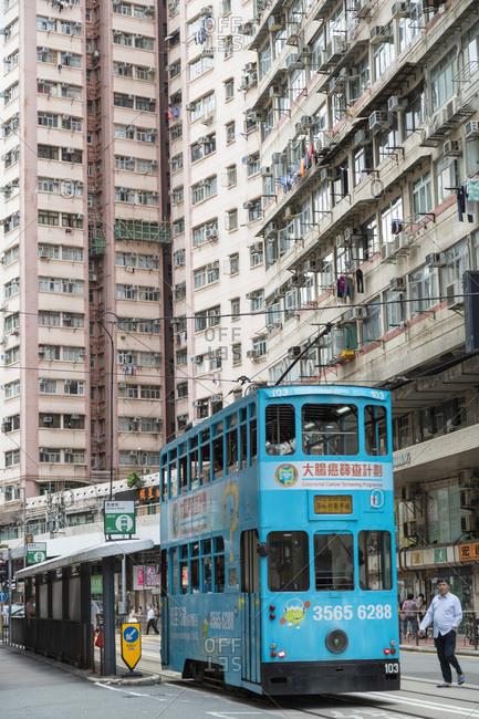 May 27, 2020: Trams at tram stop, Sai Ying Pun, Hong Kong Island, Hong Kong, China, Asia