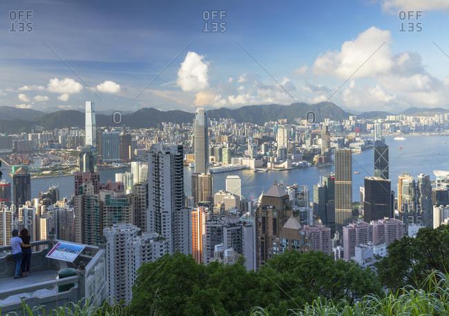 August 7, 2020: Man at Lion Pavilion on Victoria Peak, Hong Kong, China, Asia