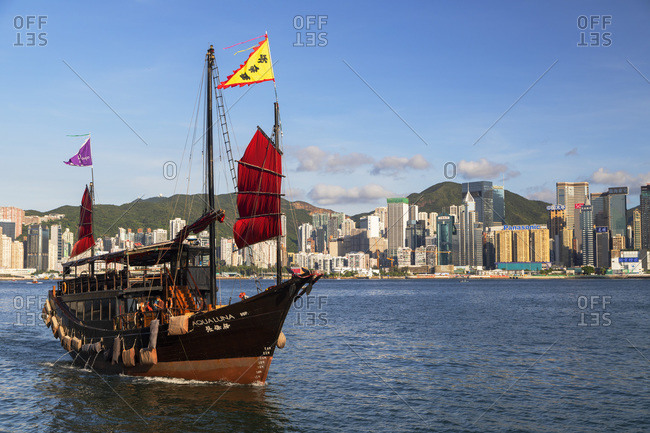 August 9, 2020: Junk boat in Victoria Harbor, Hong Kong, China, Asia