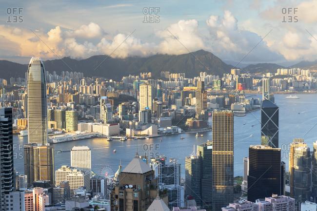 August 7, 2020: Skyline of Hong Kong Island and Kowloon, Hong Kong, China, Asia