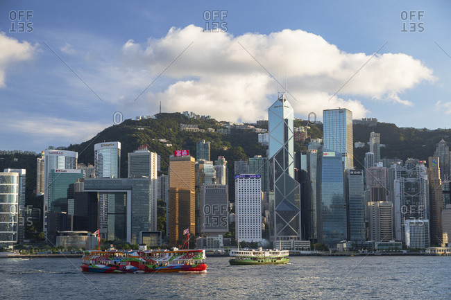 August 9, 2020: Star Ferry and skyline of Hong Kong Island, Hong Kong, China, Asia