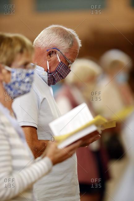 May 30, 2020: Coronavirus epidemic (Covid-19), Pentecost Mass after lockdown, distance measurement, Saint Joseph des Fins Basilica, Annecy, Haute Savoie, France, Europe