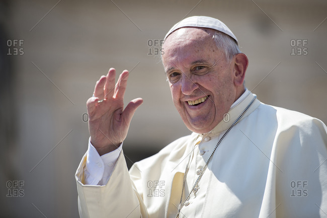 May 4, 2016: Pope Francis waving in Saint Peter's square at the Vatican, Rome, Lazio, Italy, Europe