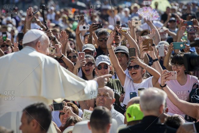 June 19, 2019: Pope Francis arrives for his weekly general audience in St. Peter's Square at the Vatican, Rome, Lazio, Italy, Europe