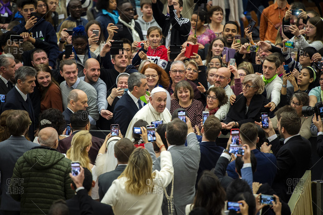 February 12, 2020: Pope Francis during his weekly general audience in Paul VI Hall at the Vatican, Rome, Lazio, Italy, Europe