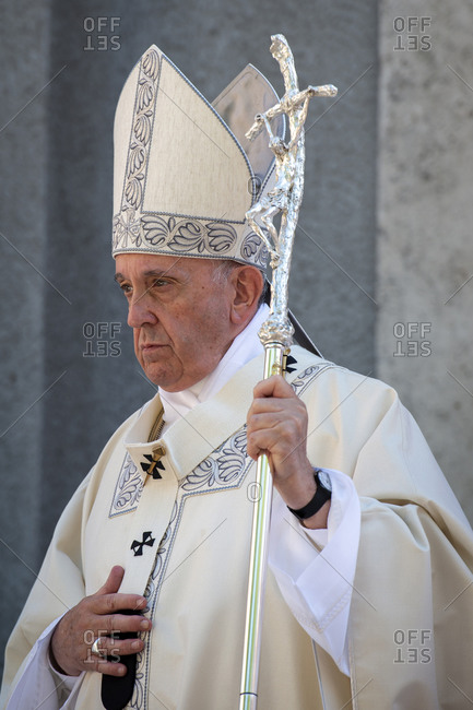 June 23, 2019: Pope Francis celebrates a Mass for the Feast of Corpus Christi (Corpus Domini) in the parish of Santa Maria, Rome, Lazio, Italy, Europe