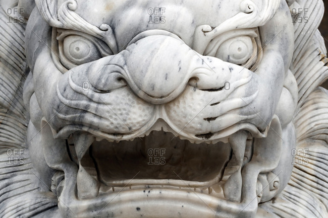 December 3, 2019: Long Khanh Buddhist Pagoda, Imperial guardian lion statue at entrance, Quy Nhon, Vietnam, Indochina, Southeast Asia, Asia
