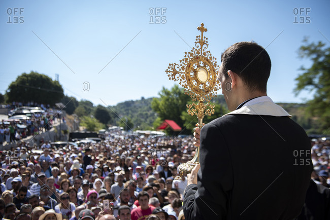 August 22, 2019: Christian procession in the town of Annaya in northern Lebanon from the Hermitage to the Monastery of Saint Maroun, Annaya, Lebanon, Middle East