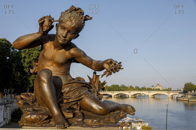 May 6, 2020: Statue on Alexander III bridge, Paris, France, Europe