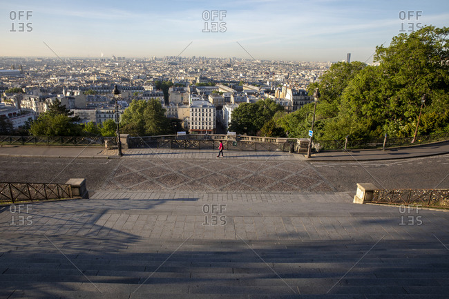 Paris seen from the Sacred Heart (Sacre Coeur) Basilica, Paris, France, Europe