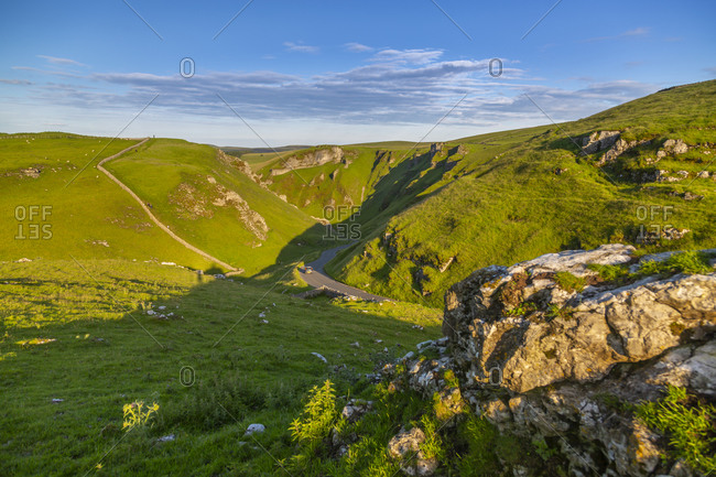 View of Winnats Pass, Hope Valley, Castleton, Peak District National Park, Derbyshire, England, United Kingdom, Europe