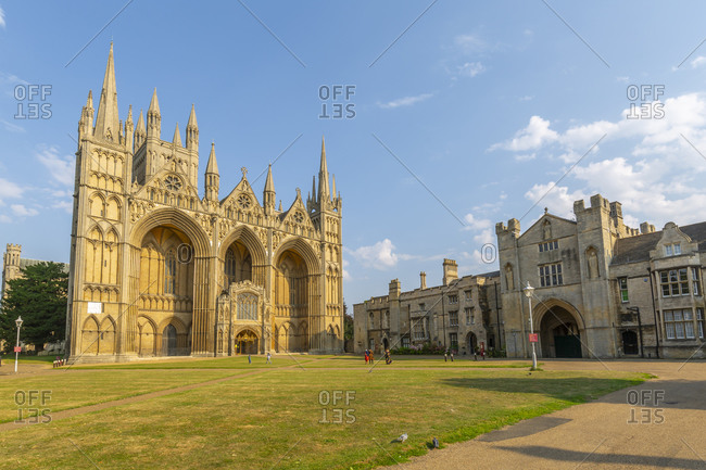 August 9, 2020: View of Gothic facade of Peterborough Cathedral from Dean's Court, Peterborough, Northampton shire, England, United Kingdom, Europe