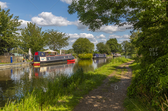 July 17, 2020: View of canal at Shardlow on a sunny day, South Derbyshire, Derbyshire, England, United Kingdom, Europe