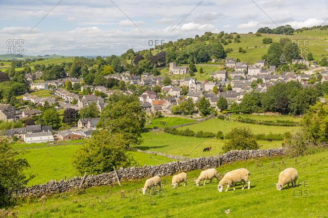 View of dry stone walls and Brassington, Derbyshire Dales, Derbyshire, England, United Kingdom, Europe