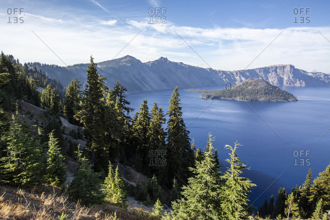Wizard Island in Crater Lake, the deepest lake in the United States, Crater Lake National Park, Oregon, United States of America, North America