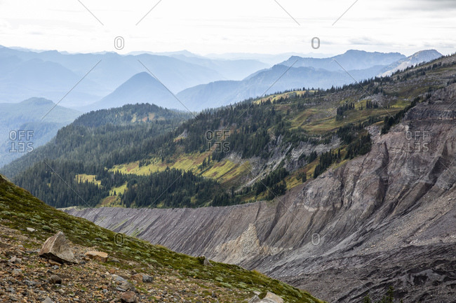 Views of the Nisqually Glacier retreat from the Skyline Trail, Mount Rainier National Park, Washington State, United States of America, North America