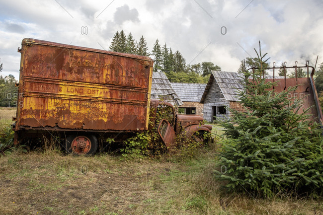 September 12, 2018: Old Chevrolet truck at the Kestner Homestead, Quinault Rain Forest, Olympic National Park, UNESCO World Heritage Site, Washington State, United States of America, North America
