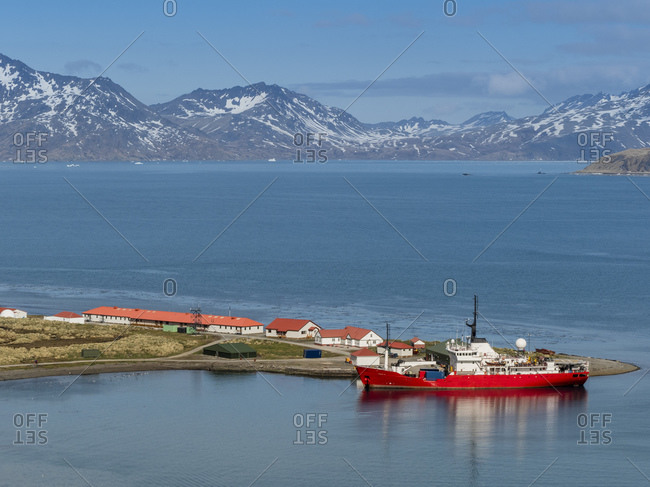British Antarctic Survey research ship at King Edward Point in East Cumberland Bay, South Georgia, Polar Regions