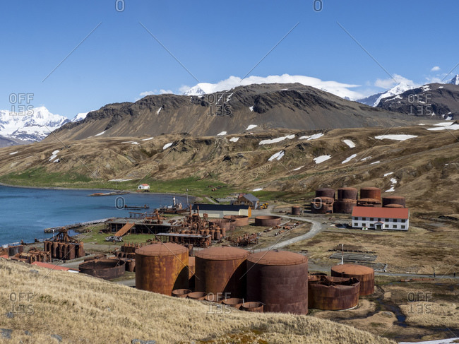 Rusting machinery at the abandoned Norwegian whaling station at Grytviken, East Cumberland Bay, South Georgia, Polar Regions