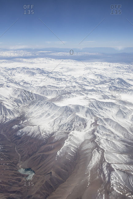 Aerial view of the snow-capped Andes Mountain Range, Chile, South America