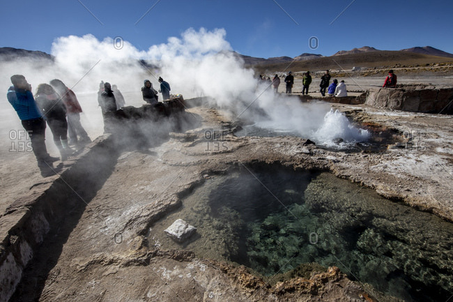 October 30, 2017: Tourists at the Geysers del Tatio (El Tatio), the third largest geyser field in the world, Andean Central Volcanic Zone, Antofagasta Region, Chile, South America