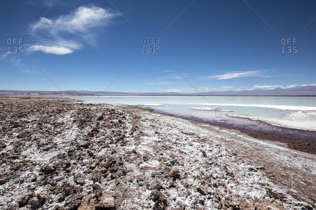 Laguna Tebenquicne, a salt water lagoon in the Salar de Atacama, Los Flamencos National Reserve, Chile, South America