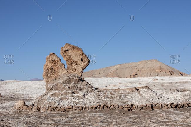 The stone formation Tres Marias, Valle de le Luna, Los Flamencos National Reserve, Antofagasta Region, Chile, South America