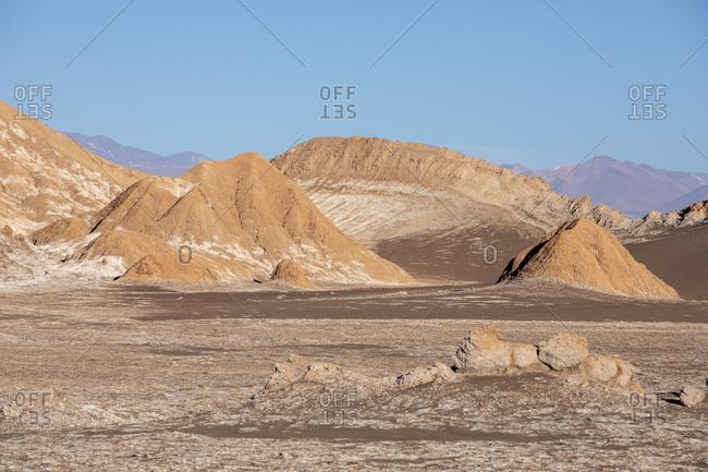 The amphitheater in Valle de le Luna, Los Flamencos National Reserve, Antofagasta Region, Chile, South America