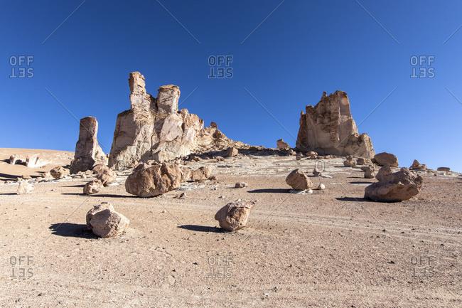 Stone formations at Salar de Tara y Aguas Calientes I, Los Flamencos National Reserve, Antofagasta Region, Chile, South America