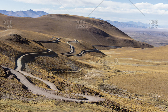 Route 40, a steep road leading to Piedra del Molino Pass, Los Cardones National Park, Salta Province, Argentina, South America