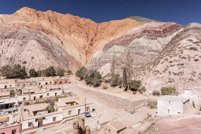The village of Purmamarca, at the base of Seven Colors Hill, Jujuy province of northwest Argentina, South America