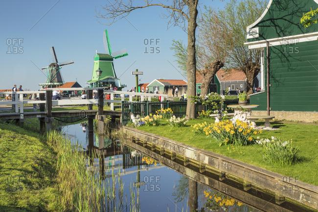April 19, 2019: Traditional village, Zaanse Schans, Zaandam, North Holland, Netherlands, Europe