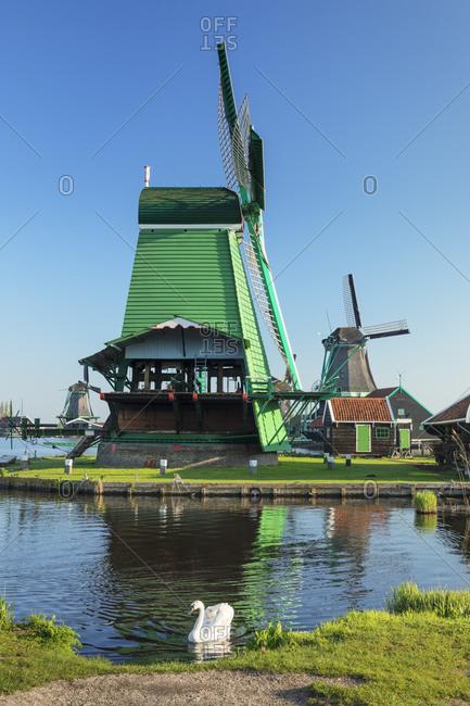 Windmills, open-air museum, Zaanse Schans, Zaandam, North Holland, Netherlands, Europe