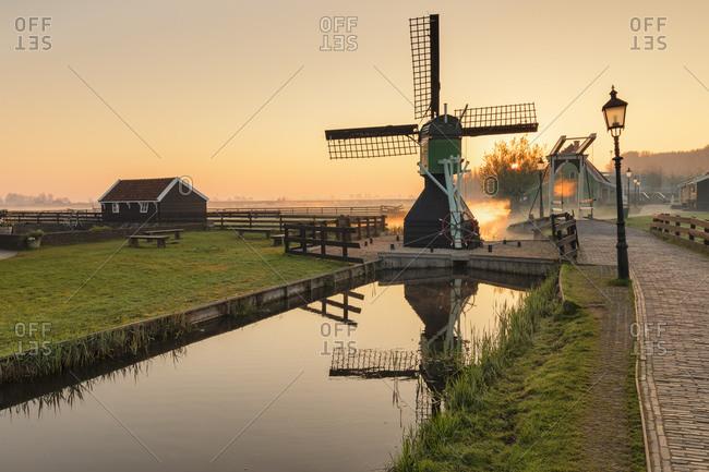 Traditional village at sunrise, Zaanse Schans, Zaandam, North Holland, Netherlands, Europe