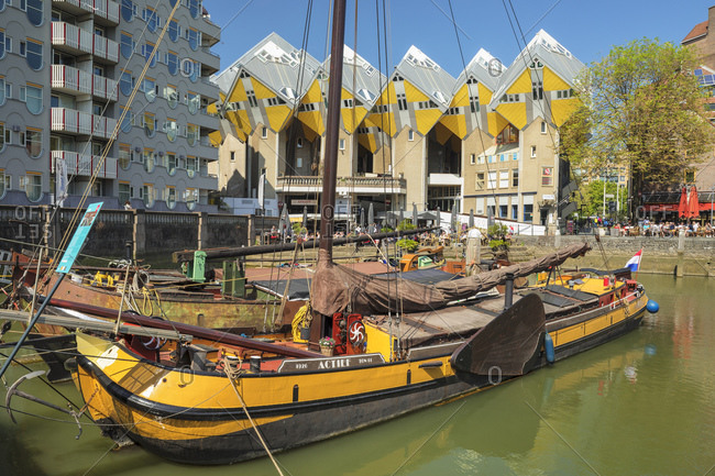 April 22, 2019: Cubic houses at Oudehaven port, Architect Piet Blom, Rotterdam, South Holland, Netherlands, Europe